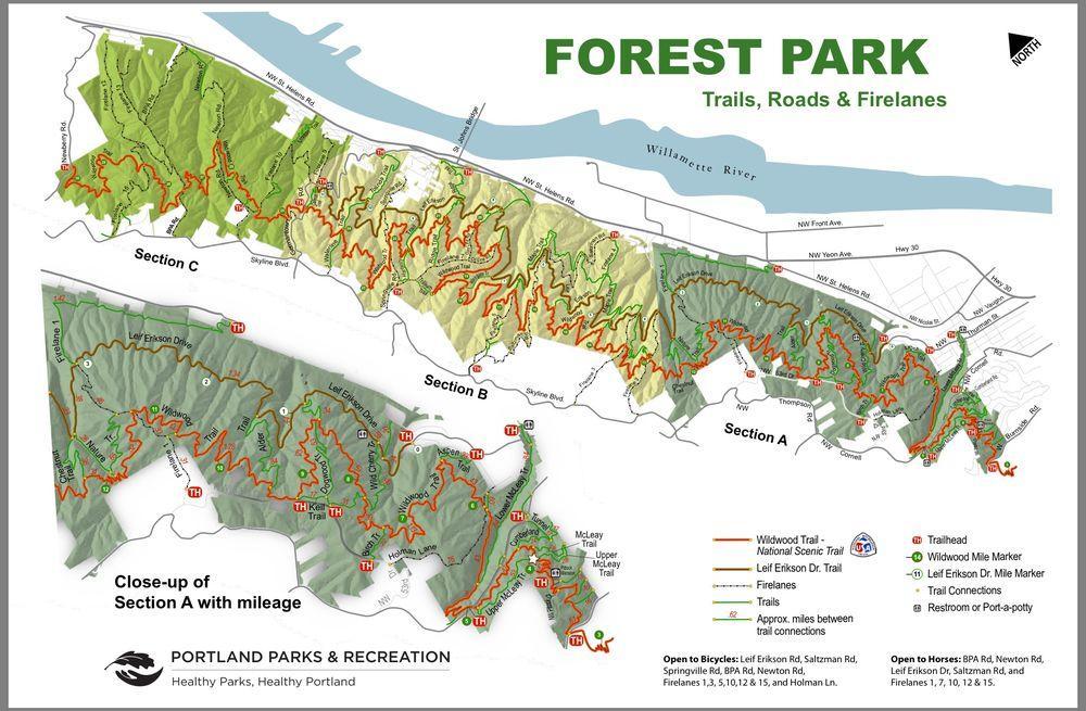 Forest Park in Portland, Oregon map - Karte von Forest Park ...
