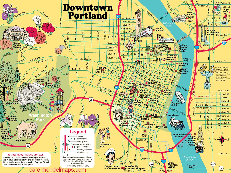 Portland bridges-Karte - Map-Brücken von Portland (Oregon - USA)