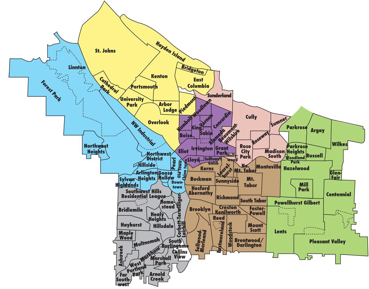Portland Kiez-Karte - Map-Nachbarschaften von Portland ...