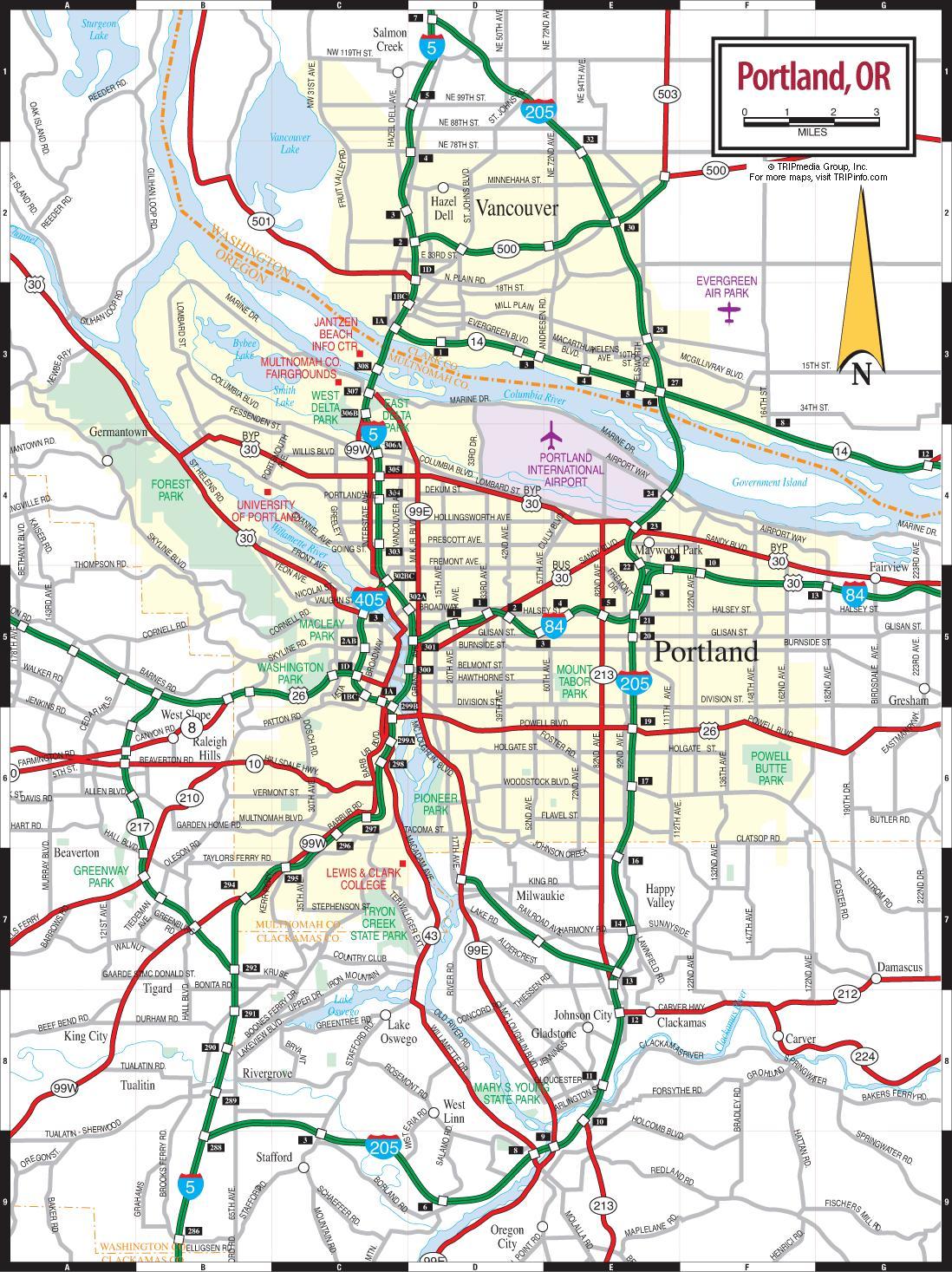 Portland, Oregon map - Karte von Portland, Oregon (Oregon - USA)