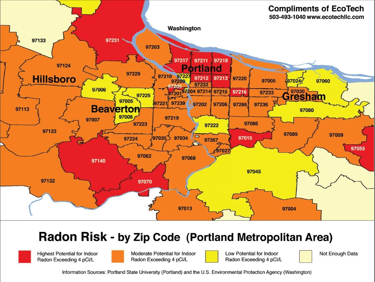 Portland zip code map - Zip code map Portland (Oregon - USA) on