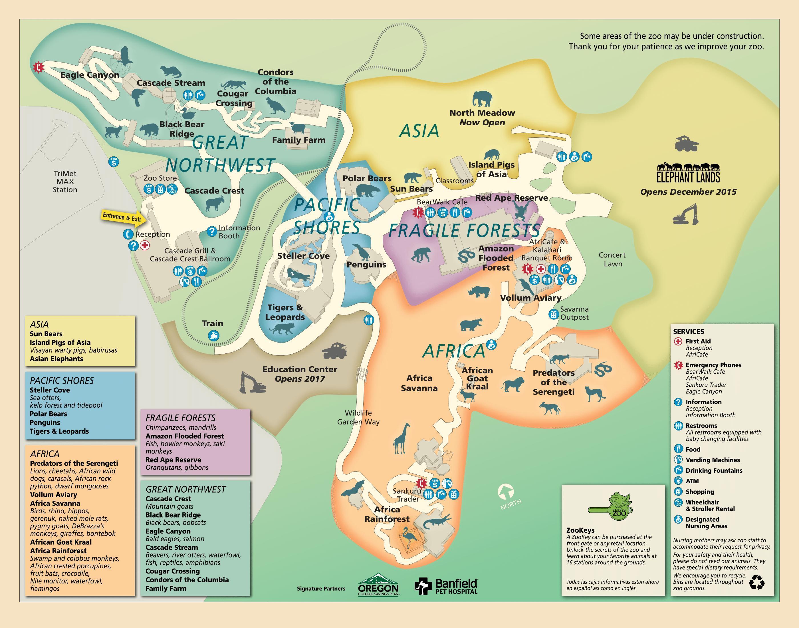 Portland Zoo-map - Karte von Portland Zoo (Oregon - USA) on
