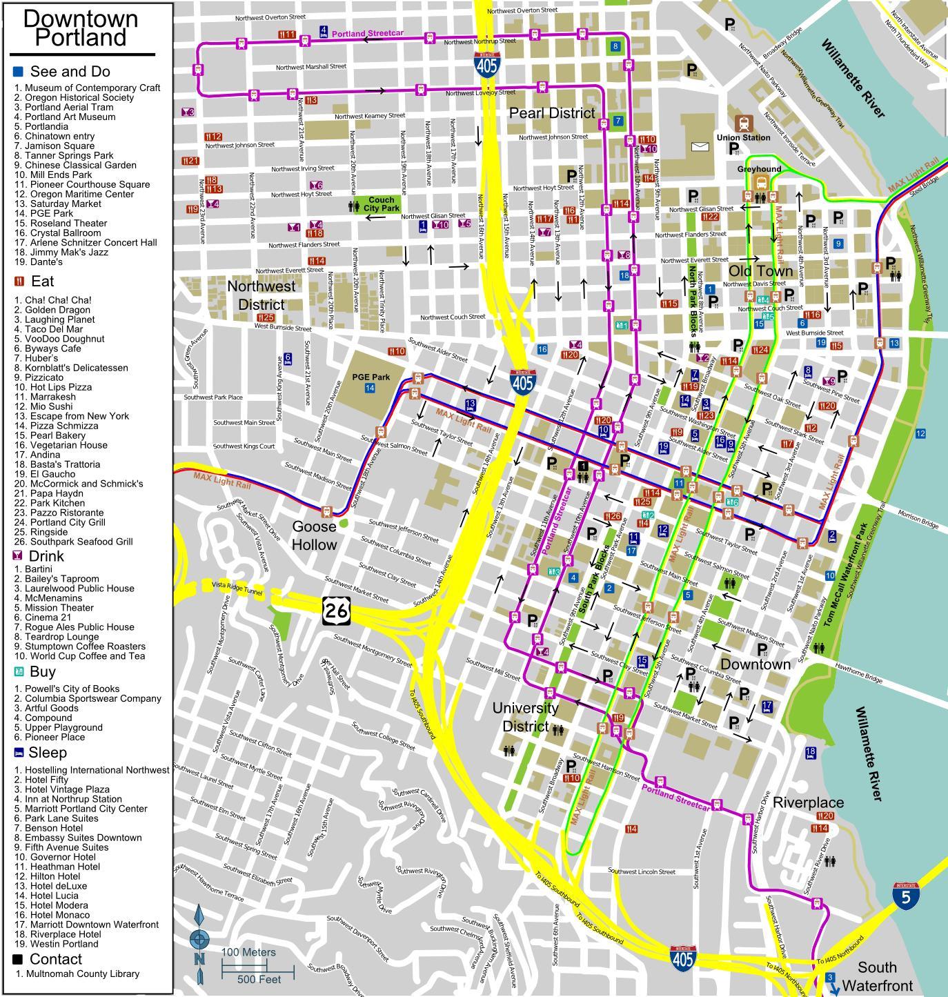 Stadtplan von Portland, Oregon - City-map Portland, Oregon (Oregon ...