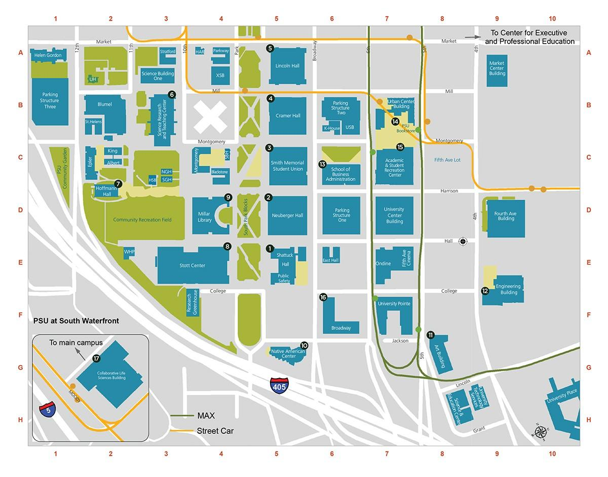 Une Portland Campus Karte - PDX-edu-Campus map (Oregon - USA)