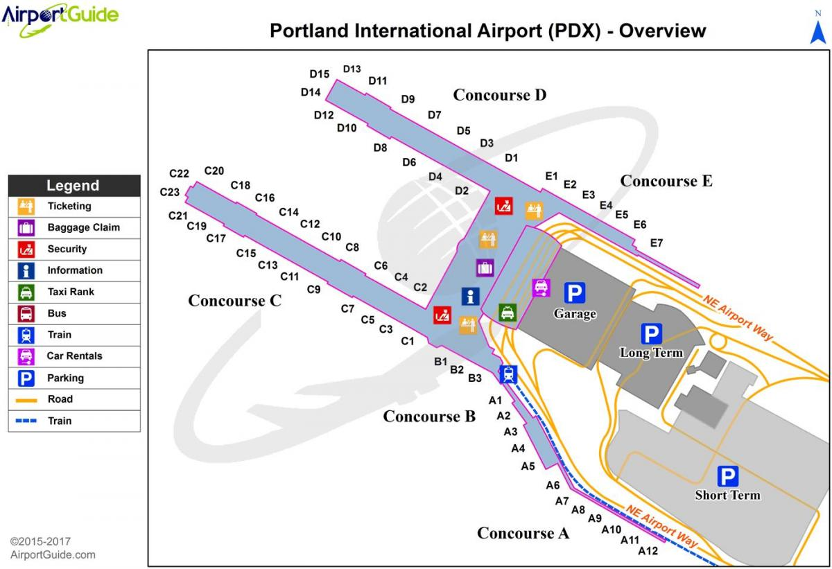 Karte von Portland international airport