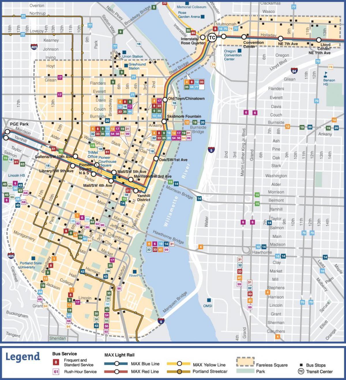 Portland public transit map - Portland Oregon public transit ...